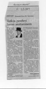 Tohtori Arvo M. Soinisen muistokirjoitus Helsingin sanomissa.